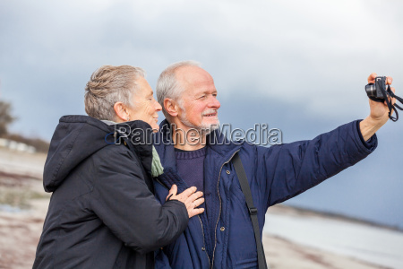older adult couple seniors happy while