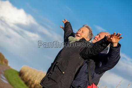 senior senior couple happy laughing on