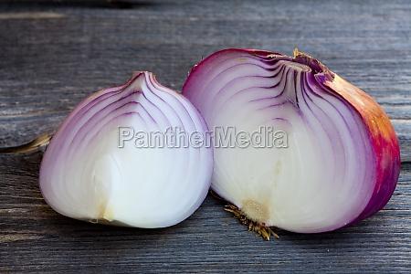 macro shot of big red onions