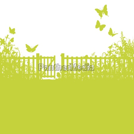 garden fence gate and lawn