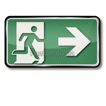 rescue sign with escape route and