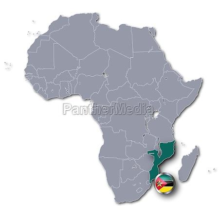 afrikakarte mit mosambik