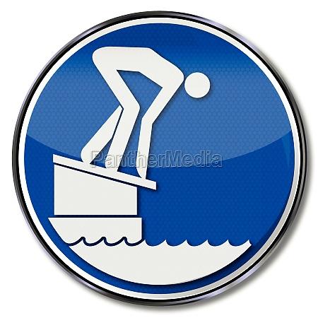 schild schwimmer auf startblock