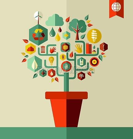 gruenes umweltbaumkonzept