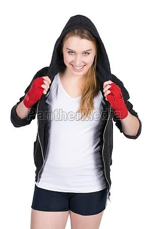junge laechelnde boxerin