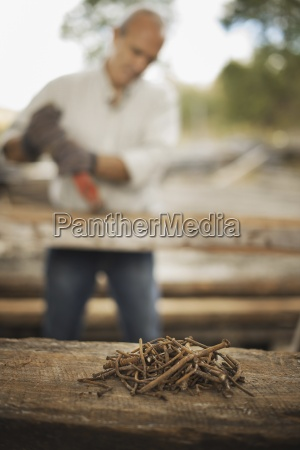 a man working in a reclaimed