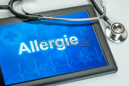 tablet with the diagnosis allergy on