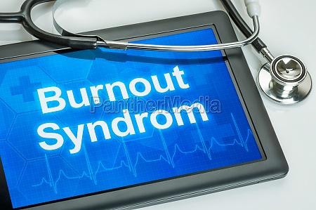tablet mit der diagnose burnout auf