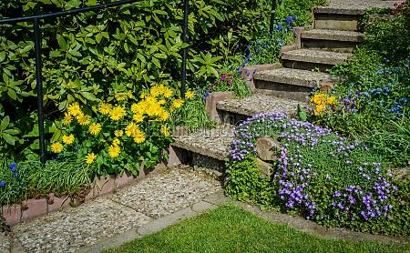 garden staircase in a spring garden