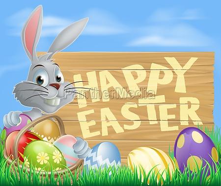 white happy easter eggs bunny