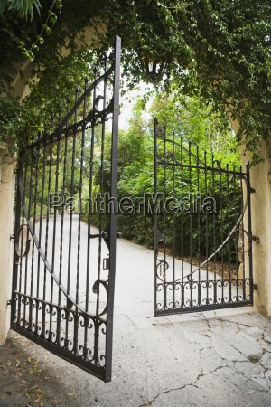large opened wrought iron gate