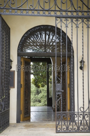wrought iron gate outside front entrance