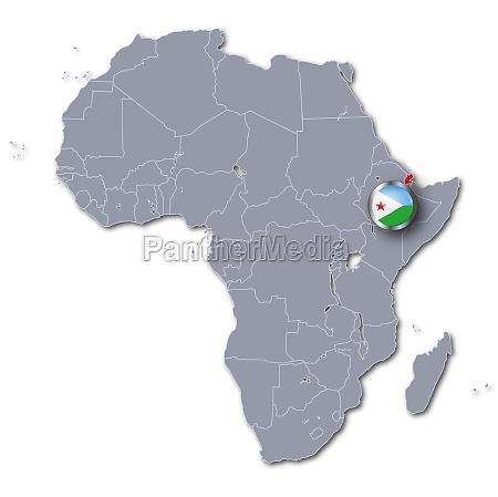 afrikakarte mit dschibuti