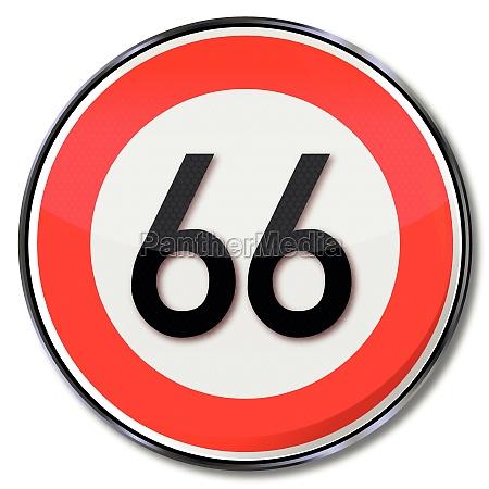 schild geschwindigkeit 66