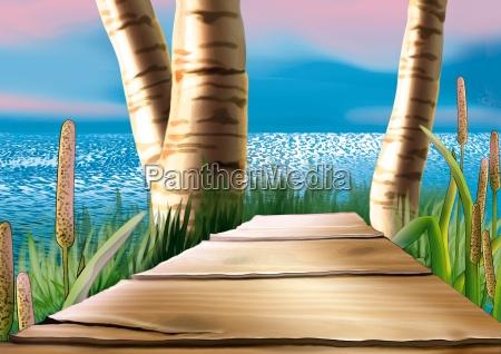 coastal wood footbridge