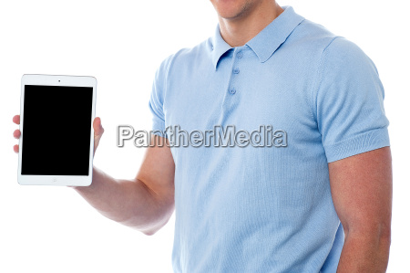 man displaying his new tablet pc
