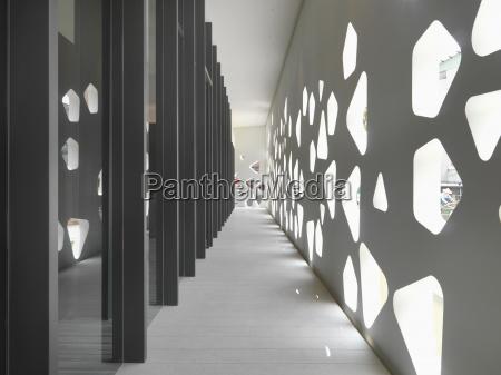 modern hallway with cutout wall