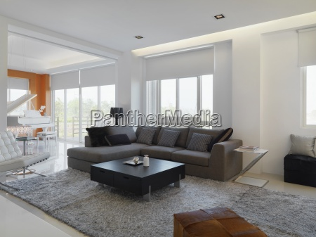 modern living room with sectional sofa
