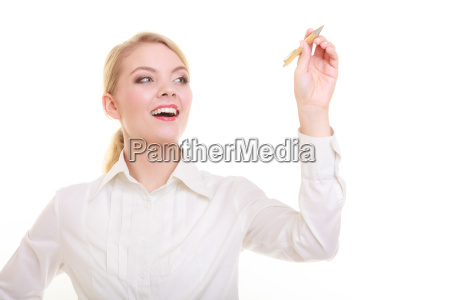 businesswoman with pen writing on screen