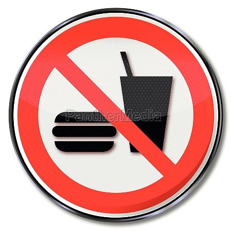 verbotszeichen essen und trinken verboten