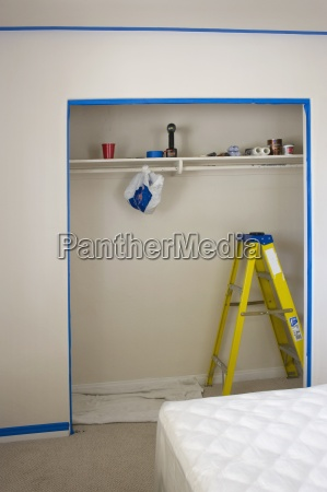 ladder and objects in room prepared