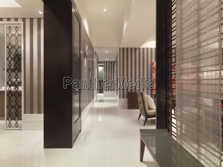 modern home with striped wall paper