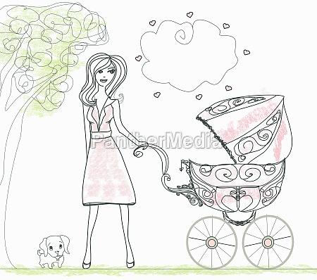 beautiful woman pushing a stroller