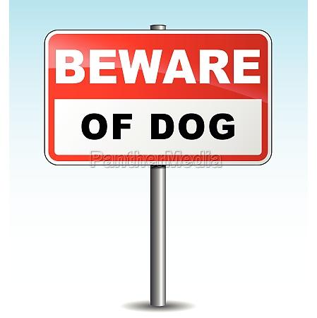 vector beware dog illustration