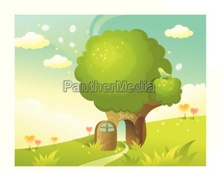 path through tree and sky