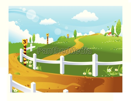 race course on green landscape