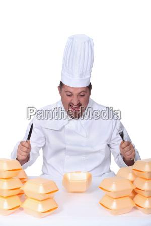 chef devouring hamburgers