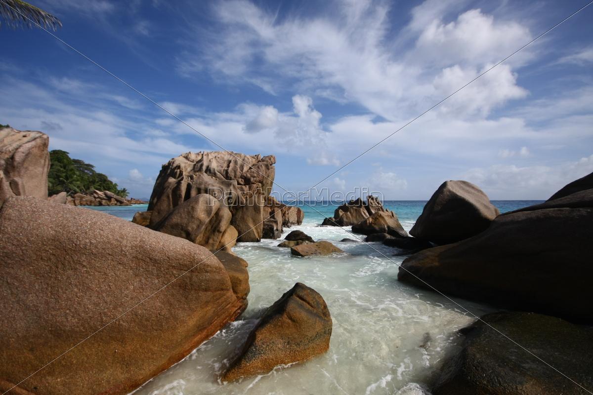 La Digue, Postkarte, Seychellen, Traum, tropisch, Wolken - 11375585