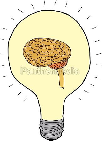idea bulb with brain