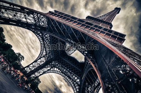 view of eiffel tower in grungy