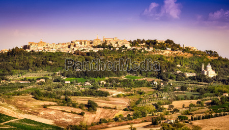 view of montepulciano town and wine
