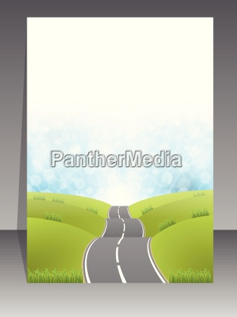 abstract brochure design with road background