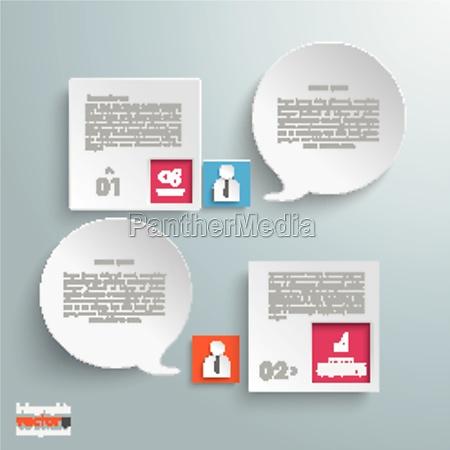 2 squares 2 speech bubbles infographic