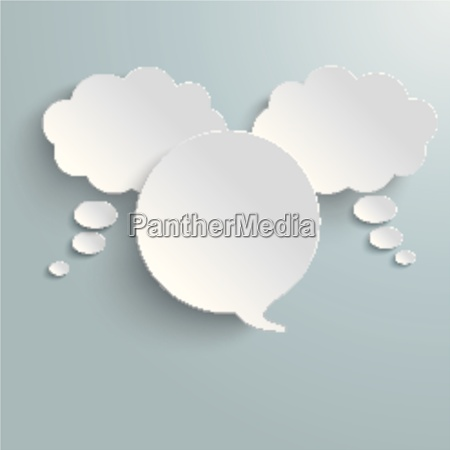 2 white thought 1 speech bubble