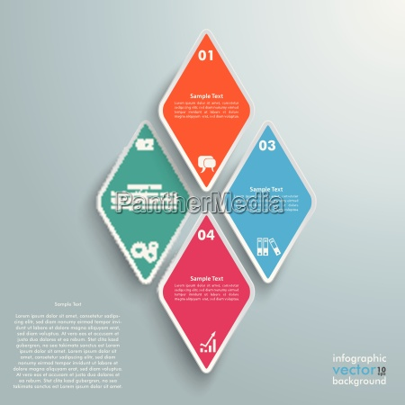 4 colored rhombus pieces infographic
