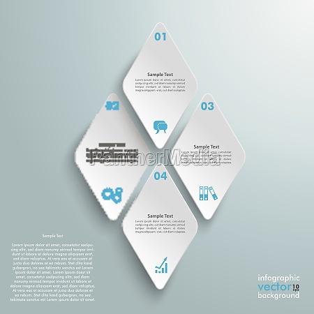 4 rhombus pieces infographic