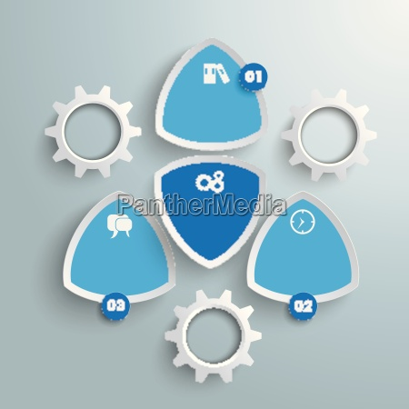 4 round colored triangles white gears
