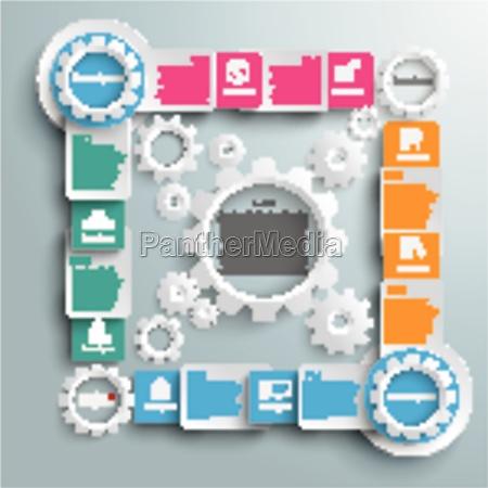 big quadrat white gears four colored