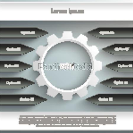 black and white gear centre arrows