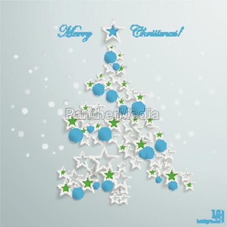 gruener weihnachtsbaum roter blauer stern