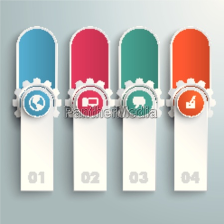 oblong round banners colored circles gears