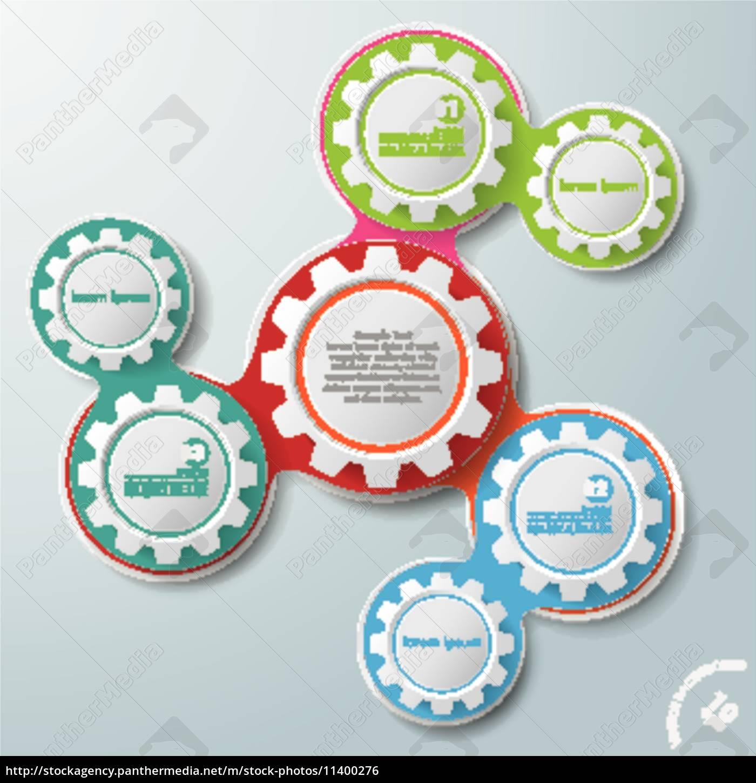 infographische, design, farbketten, weiße, kreise, 3 - 11400276