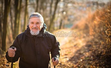 senior man nordic walking enjoying the