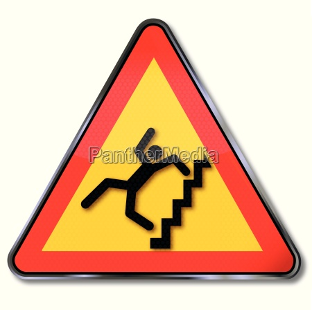 sign attention steep stairs and crash