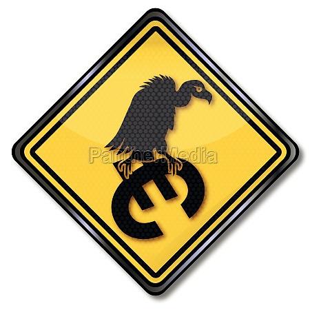 euro sign and pleitegeier