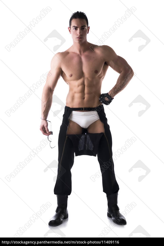 muskulös nackter oberkörper junger mann mit - Lizenzfreies Foto ...